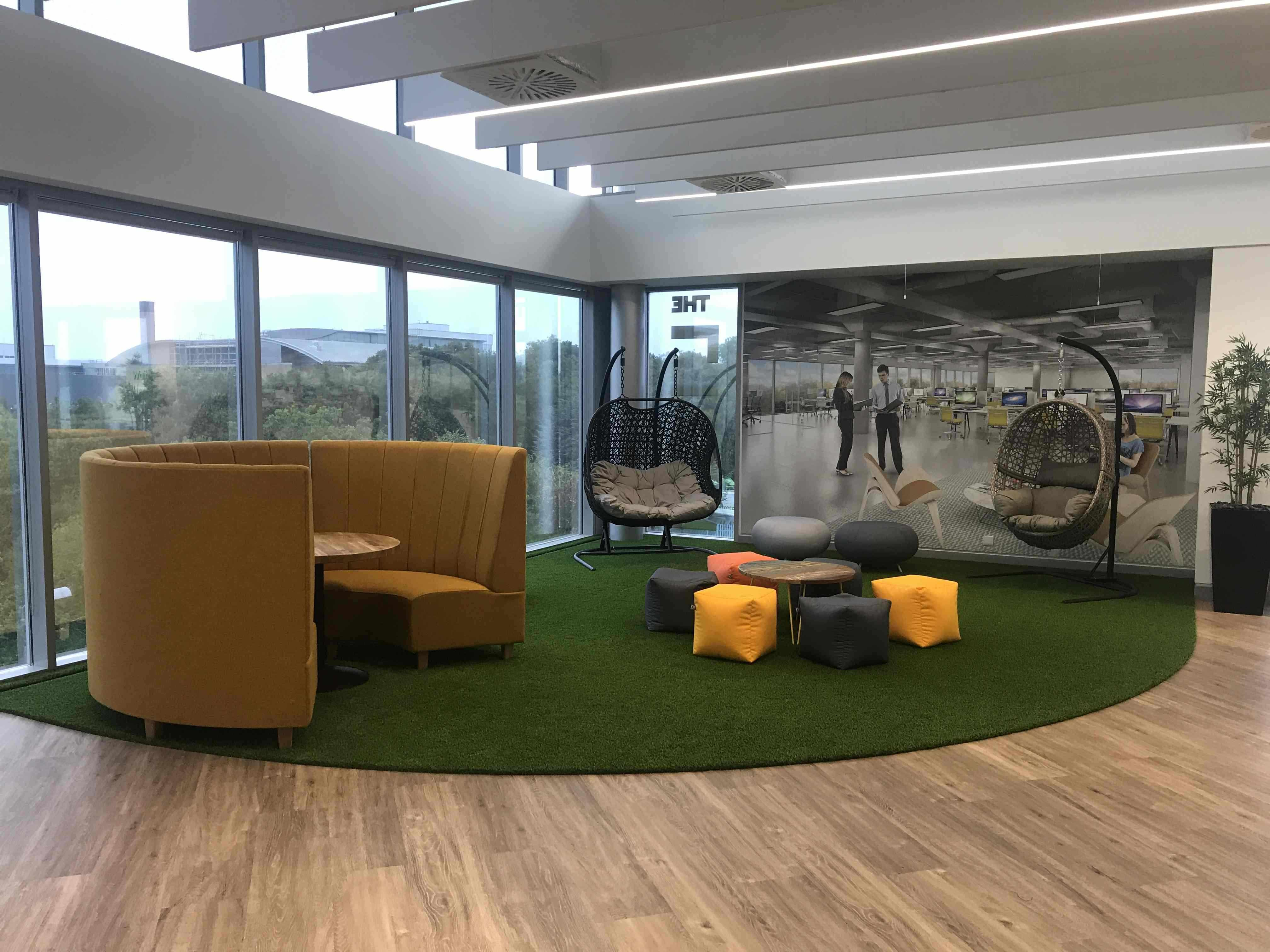 relaxed breakout area to help boost workplace wellbeing